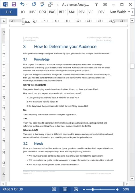 audience analysis template  page ms word ms excel
