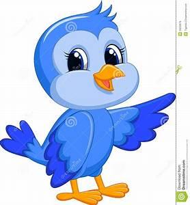 Cartoon Blue Bird Cute Birds Singing - Litle Pups