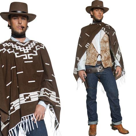 Menu2019s Poncho Cowboy Fancy Dress Costume u2013 Western / Wild West Cow Boy Outfit