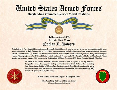 26 Images Of Military Volunteer Service Medal Template