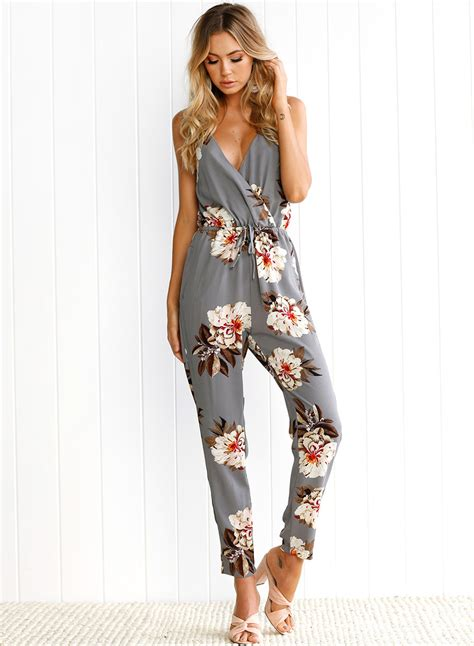 printed jumpsuits 39 s spaghetti v neck sleeveless floral