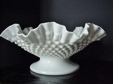 milk glass bowl white milk glass ruffled hobnail fruit bowl milk glass serving