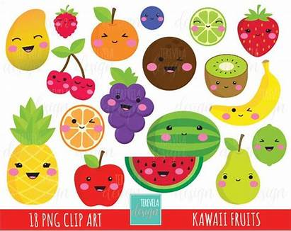 Fruit Kawaii Clipart Mango Watermelon Cherry Kiwi