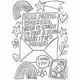 Thank Colouring Key Workers Sheets Postal Worker Window Say sketch template