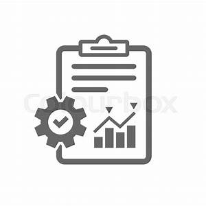 Project management icon. Report document with cogwheel ...