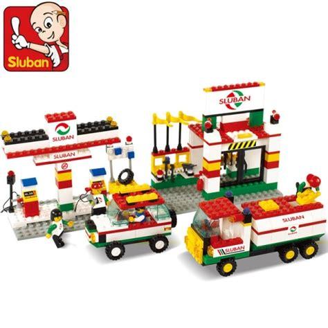 lego anak 120 pcs sluban lego city series gas petrol station building block