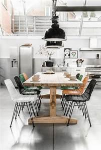 l39amenagement d39une salle a manger style industriel en 48 With table salle À manger style industriel pour deco cuisine