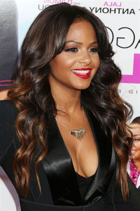 christina milian highlighted long wavy hairstyle for black