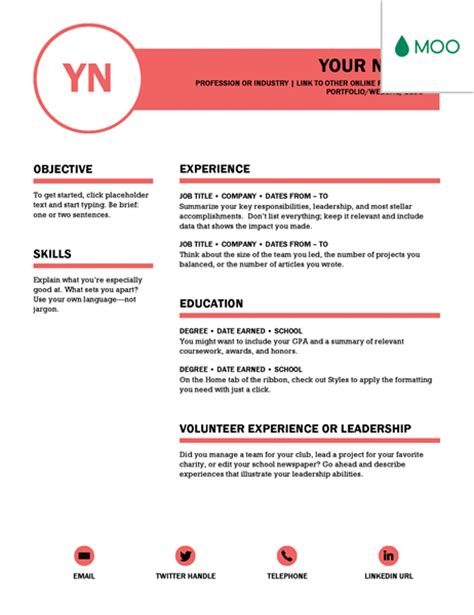Creative Resume Designed By Moo by Resumes And Cover Letters Office