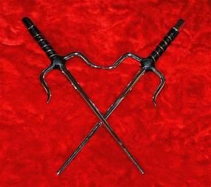 "Set of Two New 15"" Silver Ninja Sai of Octagon Design ..."