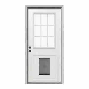 jeld wen 9 lite primed white steel prehung front door with With steel dog door