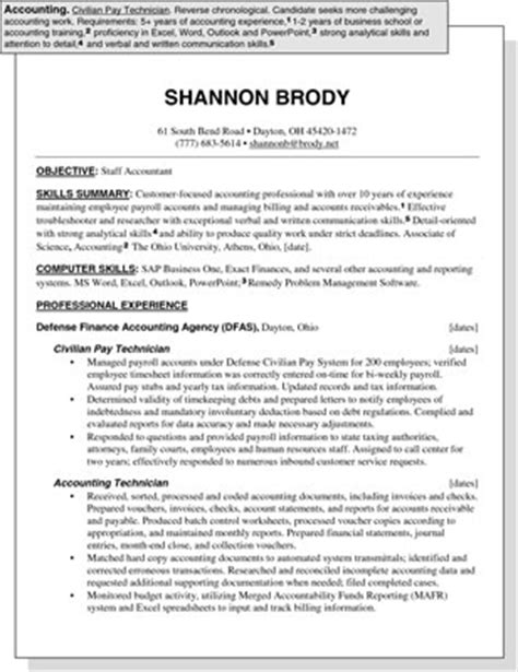Chronological Resume Accounting by Sle Resume For An Accounting Position Dummies