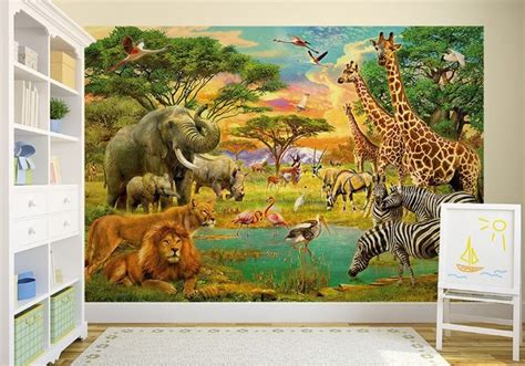 Animal Mural Wallpaper - safari animals wall mural wallpapers