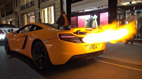 mclaren  shooting huge flames melted bumper youtube