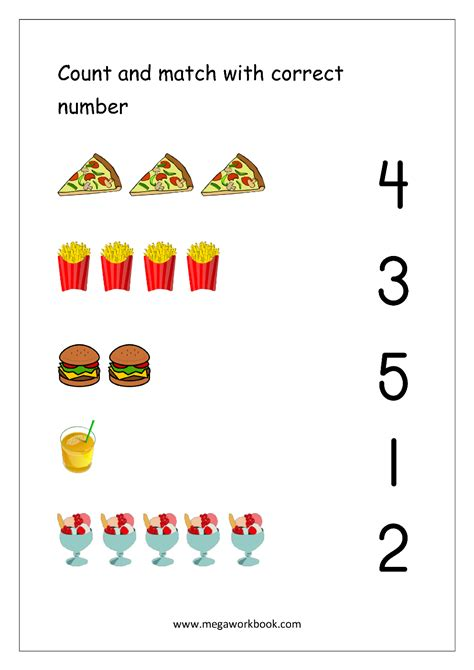 free math worksheets number matching megaworkbook