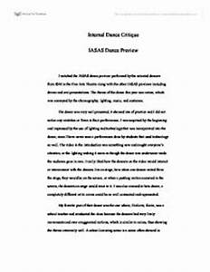 Romeo And Juliet Essay Thesis Art Critique Essay Paper College Application Essay Helpers Proposal Essay Format also English Essay Topics For College Students Dance Critique Essay Help Writing Dissertation Dance Critique Essays  Essays On Different Topics In English