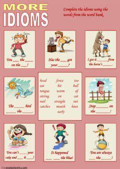 idioms  language english levelgroup intermediate