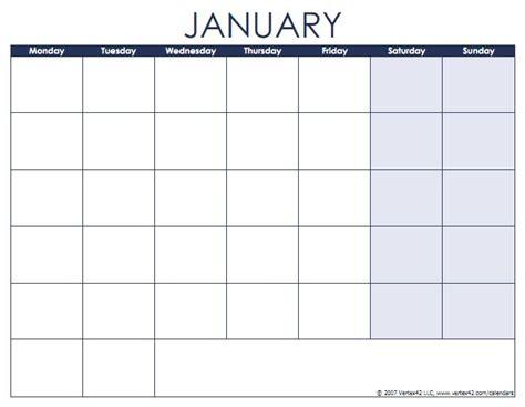 blank calendars  month names  weekdays monday