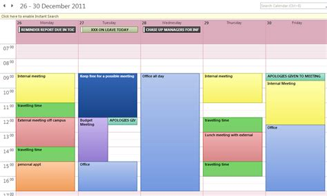 Time Management Diary Template by Diary Management Using Outlook Digitally Ready