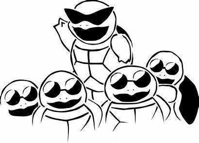 Squirtle Squad Pokemon Stencil Anime Cartoon Turtle