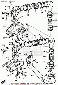Yamaha V6 4 3 Stern Drive Engine 1990 Exhaust System