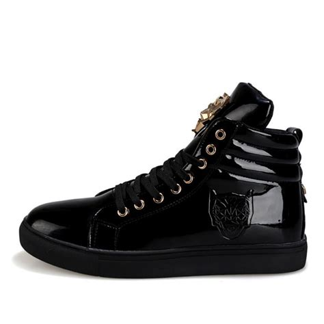 Fashion High Top Casual Shoes For Men Leather Lace