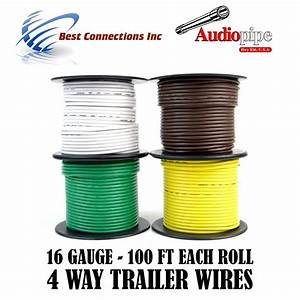 Trailer Wire Light Cable For Harness 4 Way Cord 16 Gauge