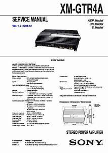 Sony Xm-gtr4a Service Manual