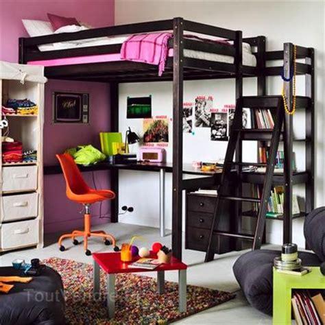 Lit 2 Places En Hauteur Avec Bureau by Lit 2 Personnes Mezzanine