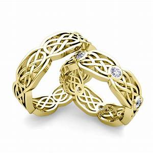 his her wedding band 14k gold celtic knot diamond wedding ring With matching celtic wedding rings