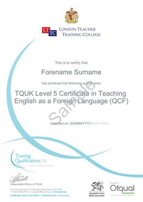 ofqual accredited certificate  tefl