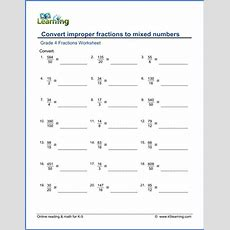 Fractions Worksheet Convert Improper Fractions To Mixed Numbers  K5 Learning