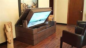 Furniture unique tv lift cabinet in brown with laminate for Unique home furniture 77020