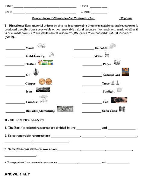 renewable and non renewable resources quiz