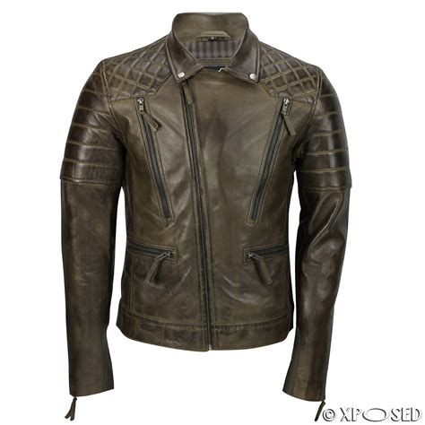 brown biker style mens new black brown real leather vintage biker style