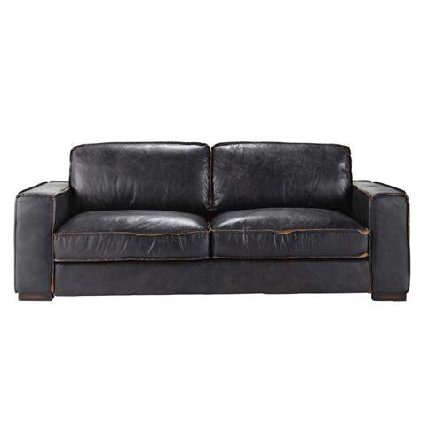 but canaper canapé vintage 3 places en cuir noir colonel maisons du