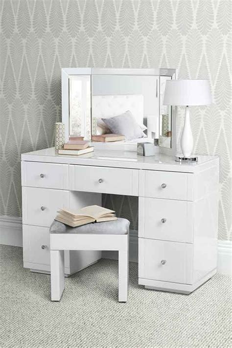 valeria white glass dressing table my furniture