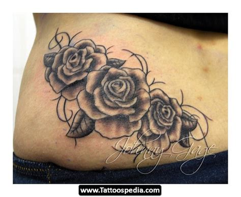 Collection Of 25+ Lower Back Roses And Vine Tattoo Design
