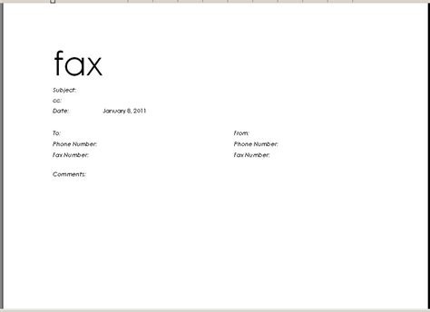 microsoft fax cover sheet  printable letterhead