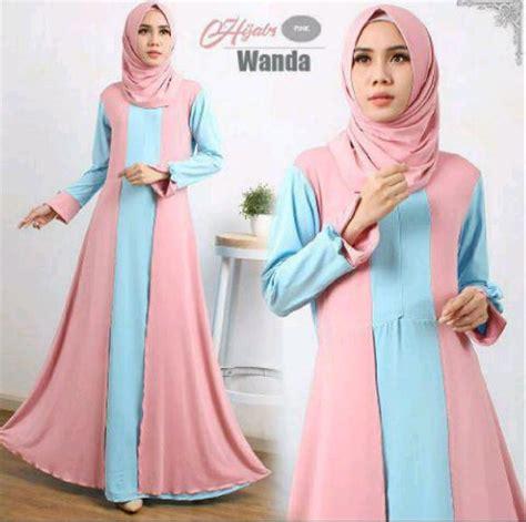 jual busana muslim syari murah wd pink set gamis  jilbab segi empat resleting depan busui