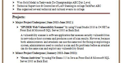 resume format information technology freshers 10000 cv and resume sles with free information technology it fresher resume