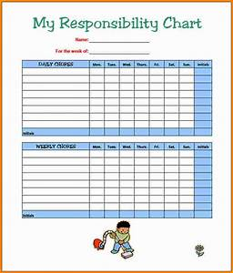 8 chore chart template cashier resume With chore list template for kids
