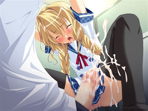 cute anime schoolgirl bends over on the floor with no