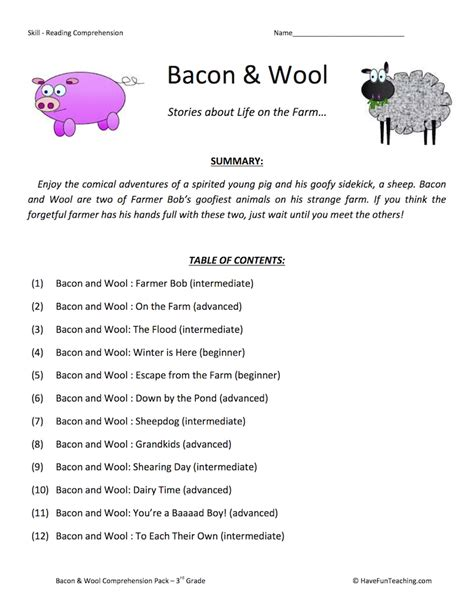third grade reading comprehension worksheets