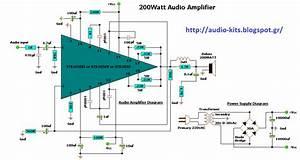 Audio Kit Circuits  200 Watt Audio Amplifier