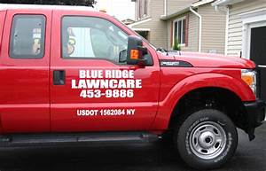 vehicle lettering on blue ridge lawncare company pickup With truck lettering ny
