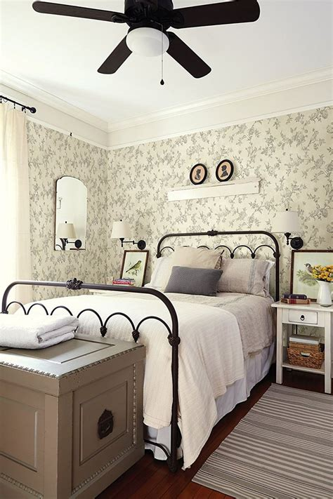 cottage style wallpaper farmhouse cottage style bedroom with wallpaper iron bed