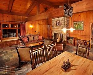 30 dreamy cabin interior designs for Log homes interior designs 2