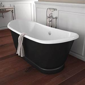 Mitigeur Pour Baignoire Ilot : baignoire ilot en fonte 170x72 cm peinte en noir cambridge ~ Edinachiropracticcenter.com Idées de Décoration