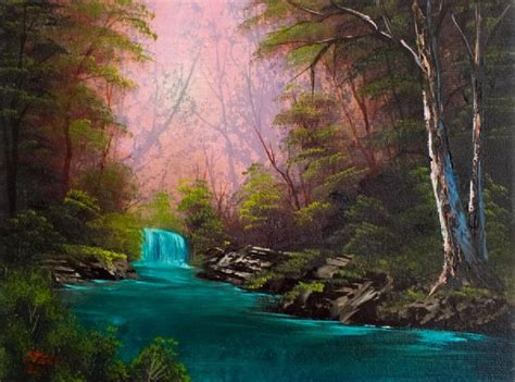 Bob Ross Turquoise Waterfall Painting & Bob Ross Turquoise